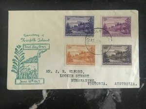 1947 Norfolk Island FDC first day cover To Victoria Australia Territories