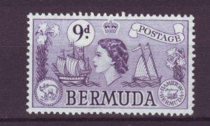 J21977 Jlstamps 1953-8 bermuda part of set mh #154 queen/ships