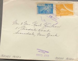 L) 1962 PANAMA, SPACE FLIGHT, ORANGE, 10C, BLUE, 1C, BOY, AIRMAIL CIRCULATED COV
