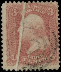 #65 VAR. 3¢ WASHINGTON W/ PRE-PRINT PAPER FOLD ERROR USED BQ679