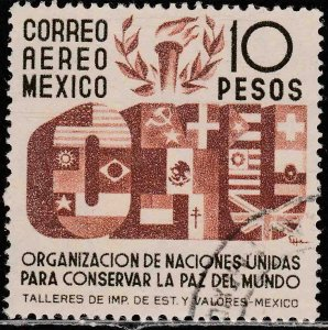 MEXICO C161, $10P Honoring the United Nations. USED. VF.(607)