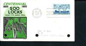 USA SC# 1066 Soo Locks FDC Cachet Craft Cover Note: three hole punches