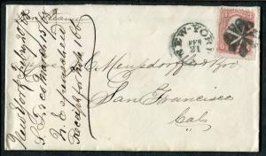 COVER - New York NY to San Francisco CA - FANCY CANCEL 1868 - S7725