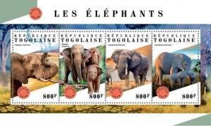 Togo - 2018 Elephants on Stamps - 4 Stamp Sheet - TG18312a