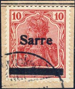SARRE / SAARGEBIET - 1920 Mi.6.III 10pf O/P t.3 very fine Used on piece