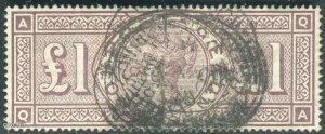 United Kingdom 1888/1888 - GB 1888 1£ SG 186 Used watermark 3 Orbs QV (003114)