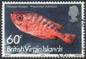 British Virgin Islands 1975 60c Glass-eyed snapper used