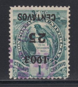 Guatemala Sc 124a used. 1903 Inverted 25c Surcharge on 1c green