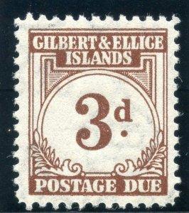 Gilbert & Ellice Is 1940 KGVI Postage Due 3d brown MLH. SG D3. Sc J3.