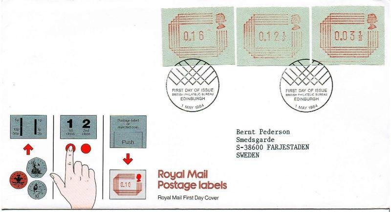 GREAT BRITAIN 1984 - ROYAL MAIL POSTAGE LABELS FIRST DAY COVER