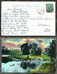 4521 - NORTH COBALT Ontario 1910 Split Ring on Postcard to Warren