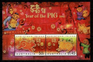 Christmas Island 2007 Year of the Pig MNH M/s