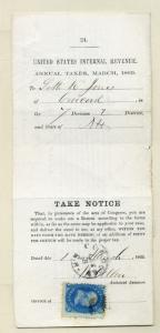 Scott 86 Franklin Grill Stamp on Tax  Notice Revenue Usage w/APS Cert (Lot 365)