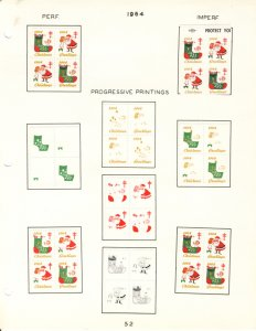 US #XMAS SEALS 1964 perfed and IMPERF (UNLISTED AS SUCH), PROGESSIVE COLOR PR...