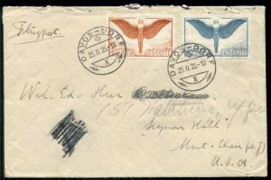 SWITZERLAND 1925, 65c + 75c Airmails tied on cover to U.S., VF