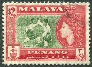 PENANG-1957 $2 Bronze-Green & Scarlet Sg 53 FINE USED V42836