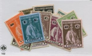 POTUGAL CONGO 99-114  MOSTLY HINGED COMPLETE SET
