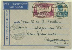 93709 - DUTCH INDIES  - POSTAL HISTORY - Airmail COVER from DOLOK  to USA 1932