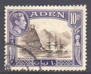 Aden Scott 27 - SG27, 1939 George VI 10r used