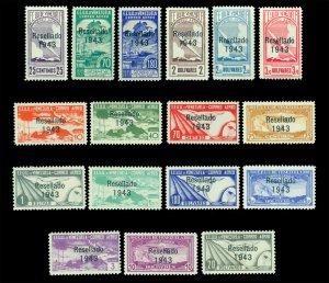 VENEZUELA 1943 AIRMAIL - RESELLADO 1943 overprinted set Sc# C164-C180 mint MNH