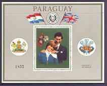 Paraguay 1981 Royal Wedding perf m/sheet (silver backgrou...