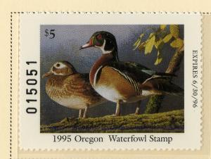 US OR12 OREGON STATE DUCK STAMP 1995 MNH SCV $15.00 BIN $7.50