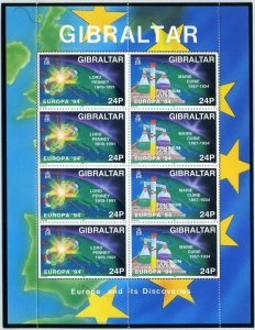 Gibraltar 653-656 sheets,MNH.Michel 683-686 klb. EUROPE CEPT-1994.Discoveries.
