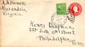 United States Virginia Potomac Sta. Alexandria 1939 numeral duplex  Postal St...
