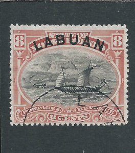 LABUAN 1894-96 8c ROSE-RED FU SG 68 CAT £45