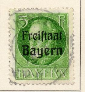 Bavaria 1919-20 Early Issue Fine Used 5pf. Optd 015674