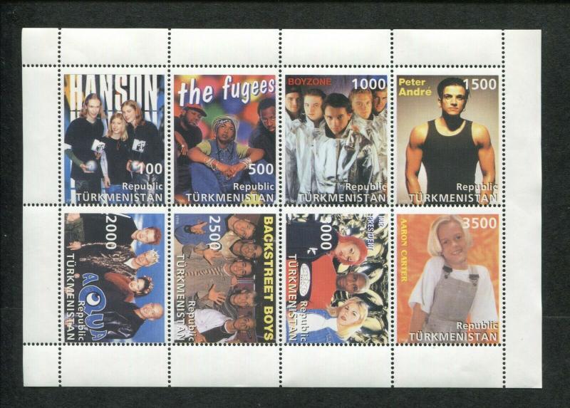 Turkmenistan 90'S Music Top POP Artists Commemorative Souvenir Stamp Sheet