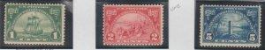 U.S. Scott #614-615-616 Huguenot-Walloon Stamps - Mint Set