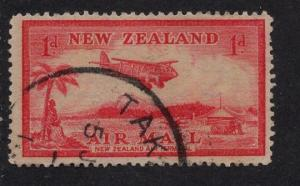 New Zealand  C6  used  AIR airplane over landing field  1p