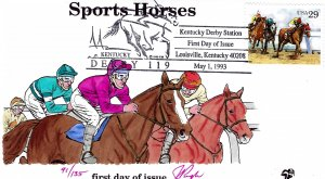 Pugh Designed/Painted Kentucky Thoroughbred Horses FDC...91 of 135 created!