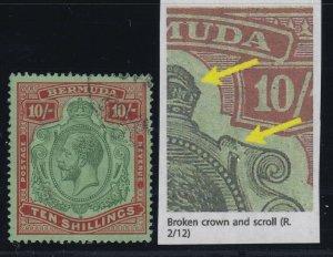 Bermuda, SG 92b, used Broken Crown & Scroll variety