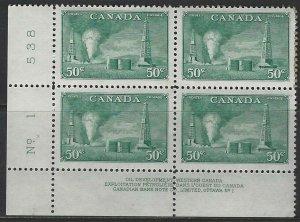 CANADA - #294 - 50c OIL WELLS LL PLATE #1 BLOCK MNH