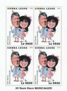 Sierra Leone Famous People Stamps 2018 MNH Bill Clinton Monica Lewinsky 4v M/S