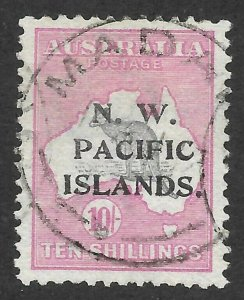 Doyle's_Stamps: XF 1915 Used Scott #9, Northwest Pacific Islands 10 Sh Stamp