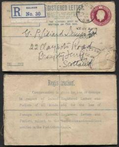 RP38 KGV 4 1/2d Puce Registered Envelope Size F Foreign and Colonial on Back Us