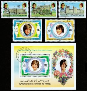 Comoro Islands Scott 522-524, 546-548 (1981-82) Cancelled VF Complete Sets C