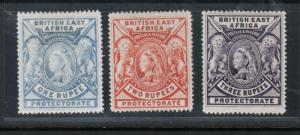 British East Africa #102 - #104 (SG #92 - #94) Mint Fine - Very Fine