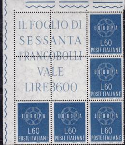 Italy 1959 EUROPA Issue in Sheet Margin Blocks of 5. VF/NH/(**)
