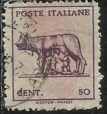 ITALIA REGNO ITALY KINGDOM 1944 LUOGOTENENZA LUPA SENZA FILIGRANA UNWATERMARK...