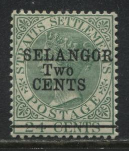 1891 Selangor Two Cents overprinted on Straits Settlements 24 ¢ mint o.g.
