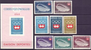 Paraguay. 1963. 1257-64, bl49. Innsbruck Winter Olympic Games. MNH.