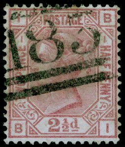 SG139, 2½d rosy mauve plate 1, USED. Cat £120. WMK ANCHOR. BI