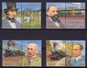 Nevis 1985 Sc#438/441 Great Western Railway Anniversary Set (4 pairs) MNH