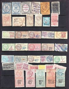 FRANCE REVENUE STAMPS + PARCEL POST STOCK PAGE COLLECTION LOT 39 STAMPS