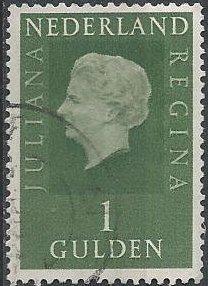 Netherlands 469 (used) 1g Queen Juliana, yel grn (1969)