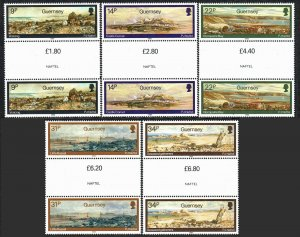 Guernsey 320-324 gutter pairs, MNH. Watercolors by Paul Jacob Naftel, 1985